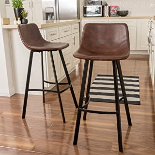 Christopher Knight Home Dax Barstools, 2-Pcs Set, Snake Skin Brown