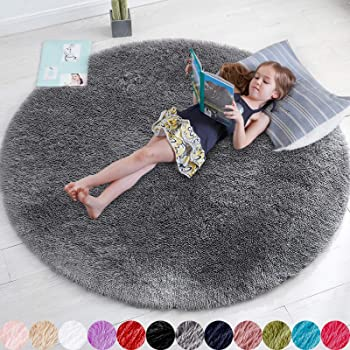 Gray Round Rug for Bedroom,Fluffy Circle Rug 5'X5' for Kids Room,Furry Carpet for Teen's Room,Shaggy Circular Rug for Nursery Room,Fuzzy Plush Rug for Dorm,Grey Carpet,Cute Room Decor for Baby