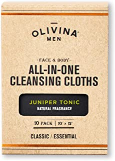 Olivina Men Face & Body All-in-One Cleansing Cloths, Juniper Tonic, 10-Count