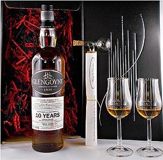 Geschenk Glengoyne 10 Jahre Single Malt Whisky  Glaskugelportionierer  2 Bugatti Gläser