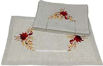 Xia Home Fashions Harvest Embroidered Cutwork Fall Placemats, 12 by 18-Inch, Set of 4