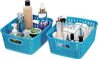 Amazon Brand - Solimo Storage Basket, Set of 2, Medium, Blue