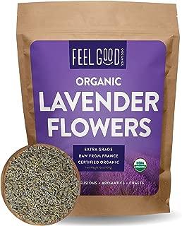 Organic Lavender Flowers Dried - Perfect for Tea, Baking, Lemonade, DIY Beauty, Sachets & Fresh Fragrance - 100% Raw From France - Jumbo 16oz Resealable Bag - by Feel Good Organics