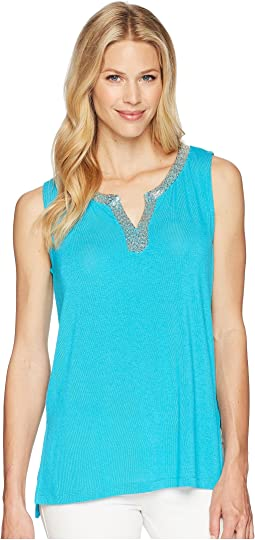 Tribal Soft Knit Sleeveless Beaded Top