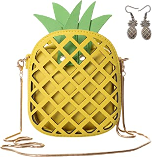 QZUnique Women's PU Pineapple Shape Hollow Out Casual Cross body Handbag Purse
