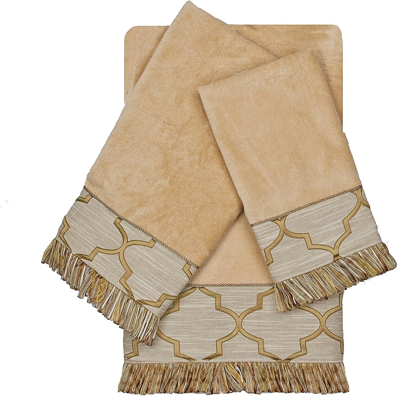 Austin Horn En Vogue Austin Horn En'vogue Ascot gold 3 piece Decorative Embellished Towel Set,gold