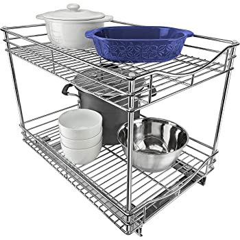 """Lynk Professional Roll out Double Drawer Cabinet Organizer 14"""" x 18"""" x 16"""" - Pull out Two-Tier Under Cabinet Shelf - Slide out Organizer for Kitchen, Pantry, Bathroom, Laundry Room - Chrome"""