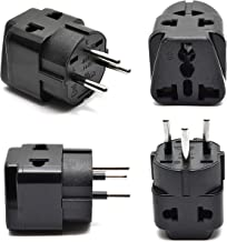 OREI 2 in 1 USA to Israel Travel Adapter Plug (Type H) - 4 Pack, Black