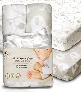100% Organic Cotton Sheets for Pack 'n Play and Other Portable/Mini Cribs, Gray/White Unisex 2 Pack, Playard or up to 5