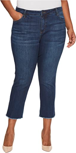 KUT from the Kloth - Plus Size Reese Ankle Straight with Frey Hem in Upheld/Dark Stone Base Wash