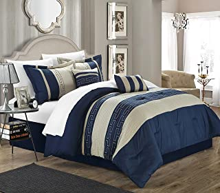 Chic Home Carlton 10-Piece Comforter Set Queen Size Navy; Sheet Set, Bedskirt, Shams and Decorative Pillows Included