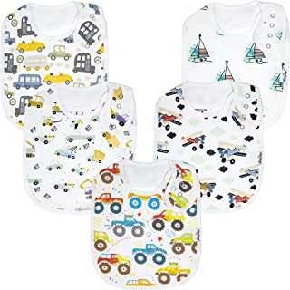 Premium, Organic Cotton Toddler Bibs, Unisex 5-Pack Extra Large Baby Bibs for Boys and Girls by KiddyStar, Baby Shower Gift for Feeding, Drooling, Teething, Adjustable 5 Positions