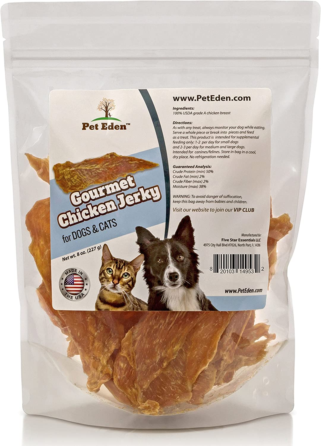 Pet Directly managed store Online limited product Eden Natural Grain Free Chicken Dog and Treats Cat 8 Jerky
