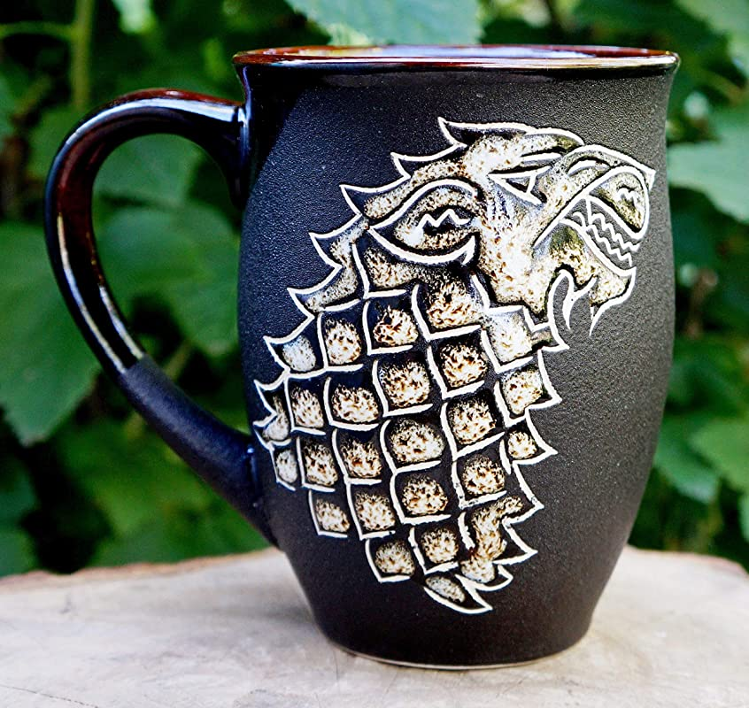 Game Of Thrones Mug Large Ceramic Coffee Men S Mug 16 Oz Wolf Gifts For Him Husband Handmade Hand Painted Pottery Mug