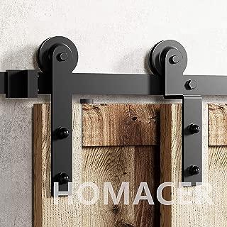 Homacer Sliding Barn Door Hardware Single Track Bypass Double Door Kit, 7FT Flat Track Straight Design Roller, Black Rustic Heavy Duty Interior Exterior Use