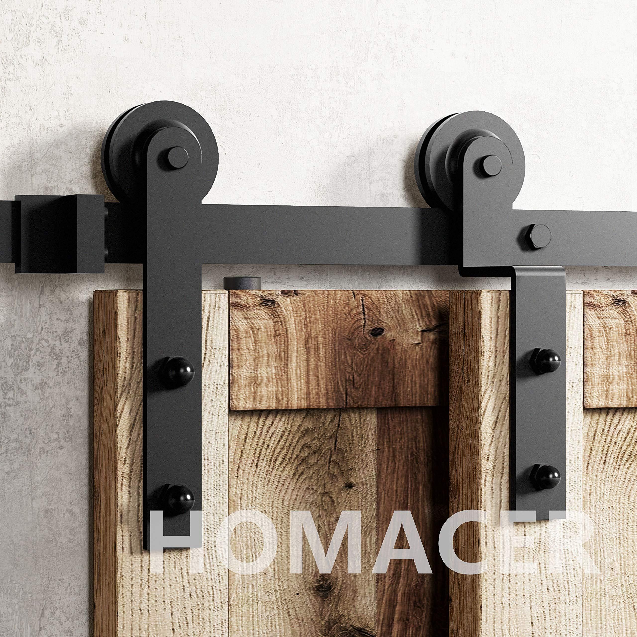 Homacer kit de puerta corredera de granero de doble puerta, 4 pies de riel plano con soporte en forma de Z, diseño recto, color negro, rústico, resistente, uso interior y exterior: Amazon.es: