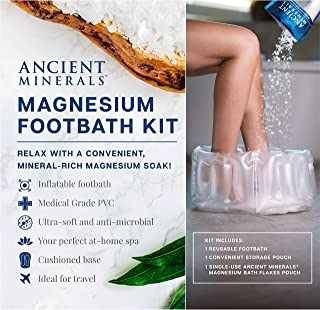 Ancient Minerals Inflatable Foot Bath Kit with Single-Use Magnesium Chloride Flakes Pouch - Great for Travel or at-Home Spa