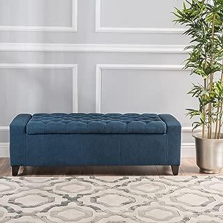 Christopher Knight Home Living Heron Dark Blue Tufted Fabric Storage Ottoman, 20.50D x 51.00W x 17.00H