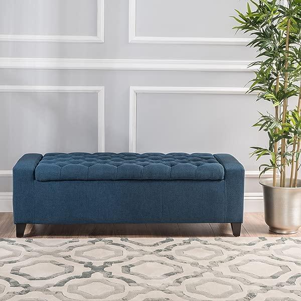Christopher Knight Home 299765 Living Heron Dark Blue Tufted Fabric Storage Ottoman 20 50D X 51 00W X 17 00H