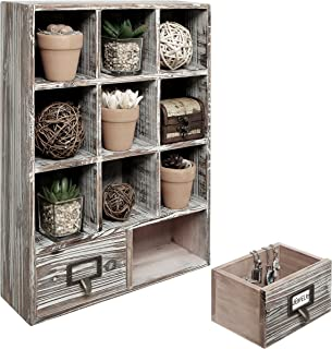 MyGift Rustic Dark Brown Wood Shadow Box / 13x17 Inch Wall Mounted Cubby Storage with 2 Drawers & Label Holders