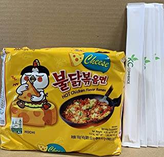 Samyang Spicy Hot Chicken Flavor Ramen Spicy Noodles 140g 5 pack with Chopsticks Bundle By KC Commerce (Cheese)
