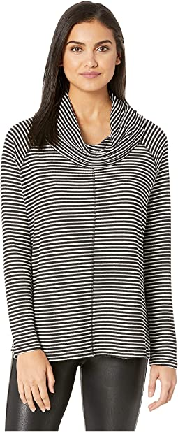 A Stripe Rib Knit Cowl Neck Top