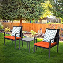 Pyramid Home Decor Black Wicker Furniture - 3 Piece Bistro Set for Outdoor Conversation - 2 Cushioned Rattan Chairs with G...