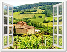 Wine Vineyards Tuscany Italy Picture French Window Art Framed Print on Canvas Office Wall Home Decor Collection Gift Ideas, 7