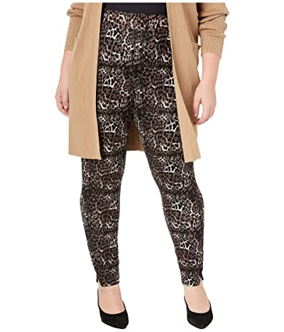 HUE Plus Size Ponte 7/8 Leggings (Brown/Leopard) Women
