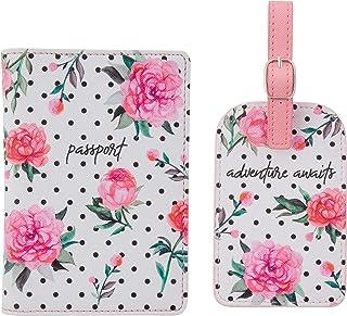 Karma Gifts Passport Holder & Luggage Tag Set, Pink Peony