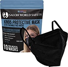 Salon World Safety Black KN95 Protective Masks, Pack of 10 - Filter Efficiency ≥95%, 5-Layers, Protection Against PM2.5 Dust, Pollen, Haze-Proof - Sanitary 5-Ply Non-Woven Fabric, Safe, Easy Breathing