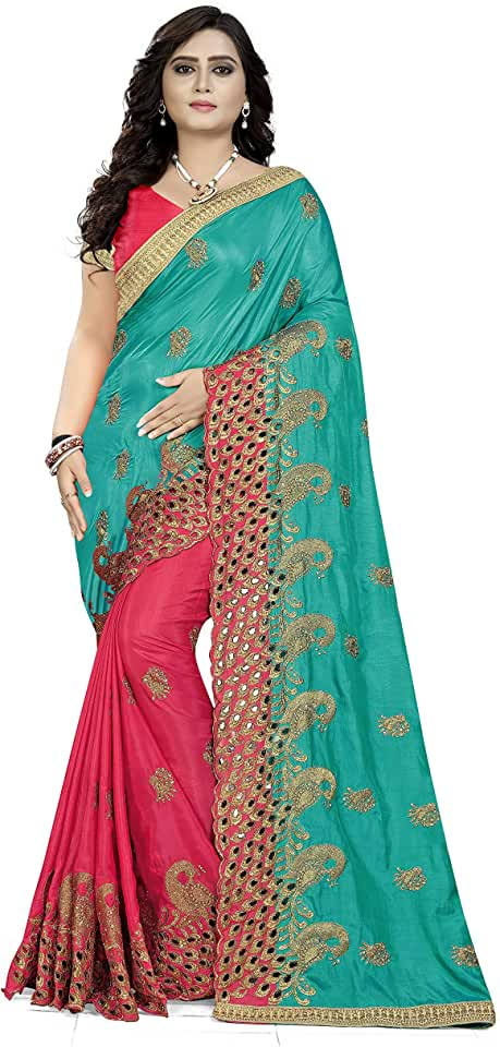 Indian Arriva Fab Silk with Blouse Piece Saree (Riva602_607_$p_Sky Blue_Free Size) Saree