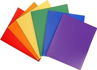 Carpeta plástica impermeable de alta resistencia con 2 bolsillos STEMSFX (Paquete multicolor de 6 unidades) para hojas de tamaño A4 y carta, incluye compartimiento para tarjeta de negocios