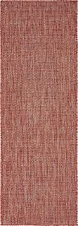 Unique Loom Outdoor Solid Collection Casual Transitional Indoor and Outdoor Flatweave Rust Red   Runner Rug (2' 0 x 6' 0)