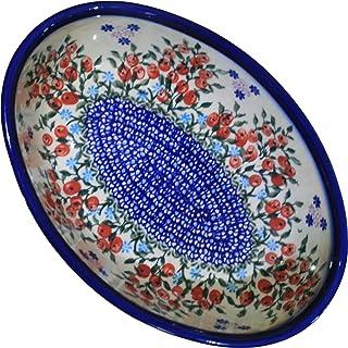 Polish Pottery Ceramika Boleslawiec 1210/282 Royal Blue Patterns 5-Cup Oval Mirek Baker, 9-2/3 by 6-7/10-Inch, Red Berries...