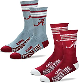 Men's NCAA (2-Pack)-4 Stripe Deuce Crew Socks-Size Large and Medium