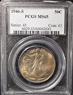 1946 S Walking Liberty Half Dollar - Beautiful Strike - Exceptional Coin 50c MS65 Hard to Find in This Condition PCGS