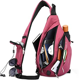 Magictodoor Sling Bag for Men Women Travel Packs Chest Backpack w/Anti-theft RFID Blocking Pocket & USB Charging Port