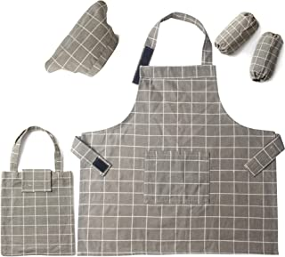 5 Pieces Kids Chef Apron Set,Adjustable Cotton Aprons With 2 Pockets For Those Child`s Chefs In Training(lattice, medium)