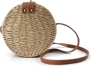 Handwoven Straw Round Shoulder Bag Women Canteen Cross body Bag Natural Purse