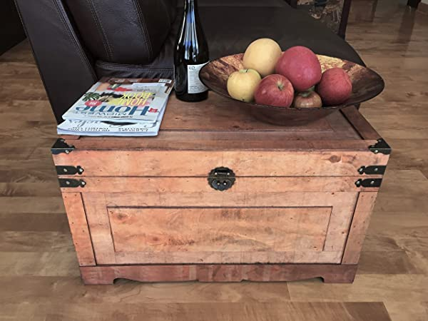 Styled Shopping Newport Medium Wood Storage Trunk Wooden Treasure Chest Brown