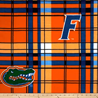 Sykel Enterprises Collegiate Fleece University of Florida Plaid Orange/Blue Fabric by The Yard