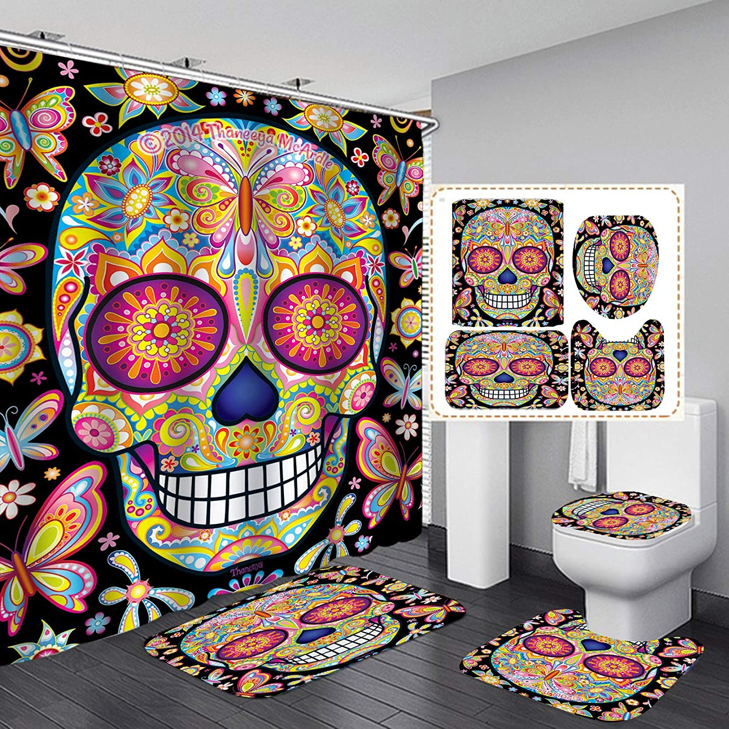 Skull Shower Recommended Curtain Set 4PCS Non-Slip Lid Cover an Max 74% OFF Toilet Rugs