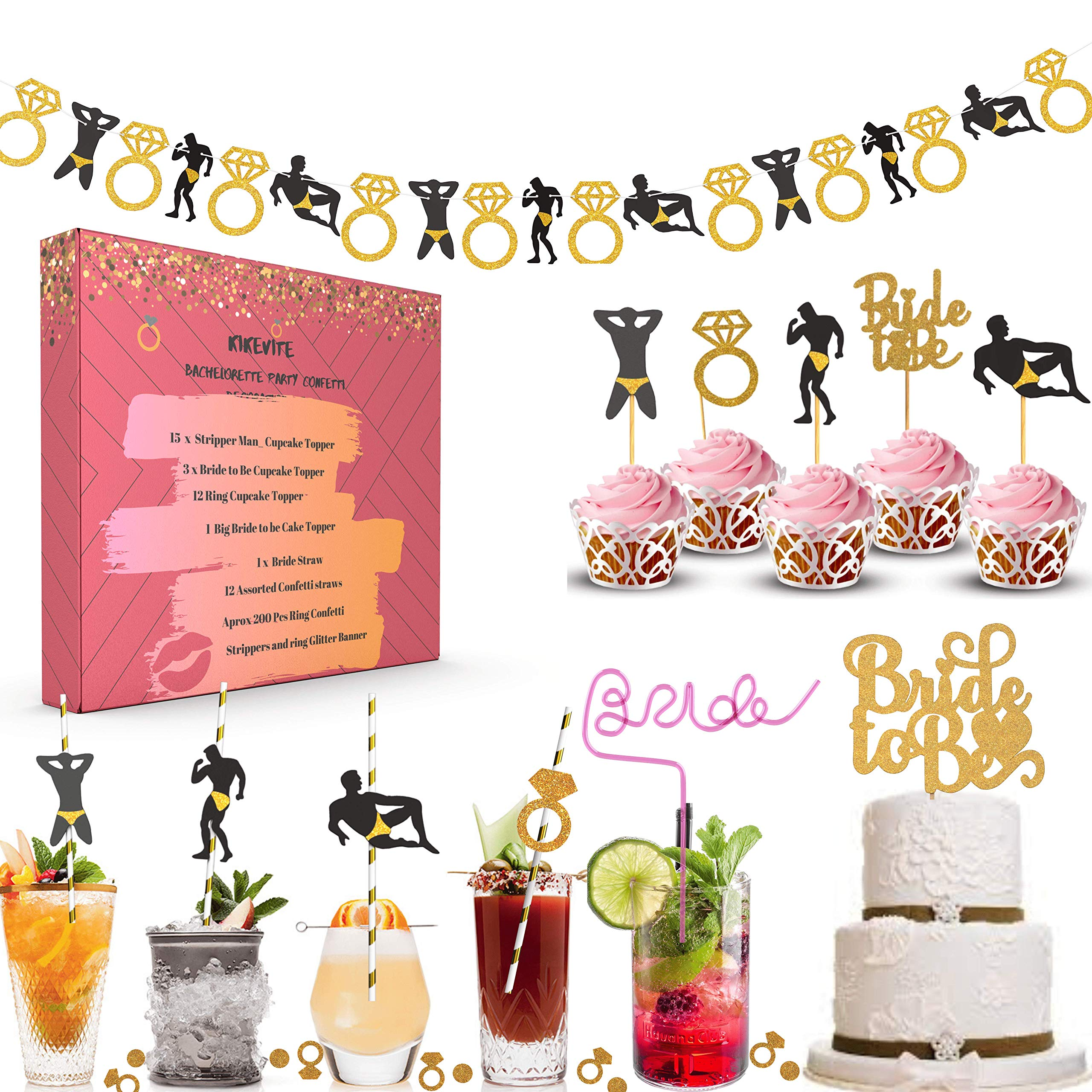 Bachelorette Party Supplies and favors for the Bachelorette Party Decorations Bachelorette Party Straws with 1 Huge Naughty Bride Straw Girls Night Out /& Hens Night Decor Kit