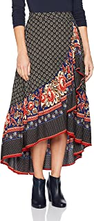 Angie Women's Printed Maxi Skirt with Ruffle