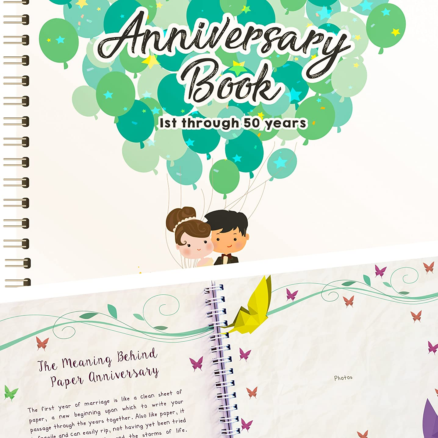 Wedding Anniversary Book - A Hardcover Journal To Document Wedding Anniversaries From The 1st To the 50th Year! Unique Couple Gifts For Him & Her - Personalized Marriage Presents For Husband & Wife!
