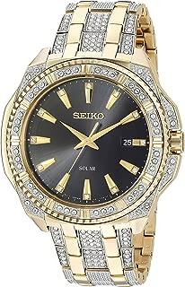 Men's Solar Goldtone Crystal Dial Watch