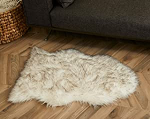 Soft, Thick, Luxurious Faux Fur Sheepskin Rug/Throw by Livving, 1 Pelt Size (2'x3'), Wolf/White; Soft, Thick, Luxurious; Stylish, Modern; Chair/Couch Accent; Fluffy Shag for Bedroom/Kids/Baby Room