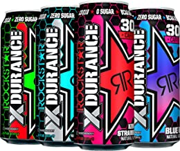 Rockstar Energy Drink, 4 Flavor Xdurance 300mg Caffeine Variety Pack, 16oz Cans (12 Pack)