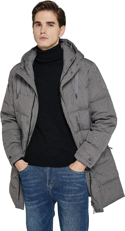 Orolay Men's Long Hooded Winter Down Jacket Warm Puffer Jacket
